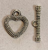 20x20mm Lead Free Pewter Heart Textured Toggle (2 sets)