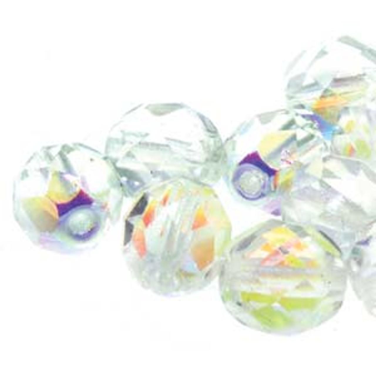 8mm Crystal AB Fire Polish Beads (19 Beads per strand)