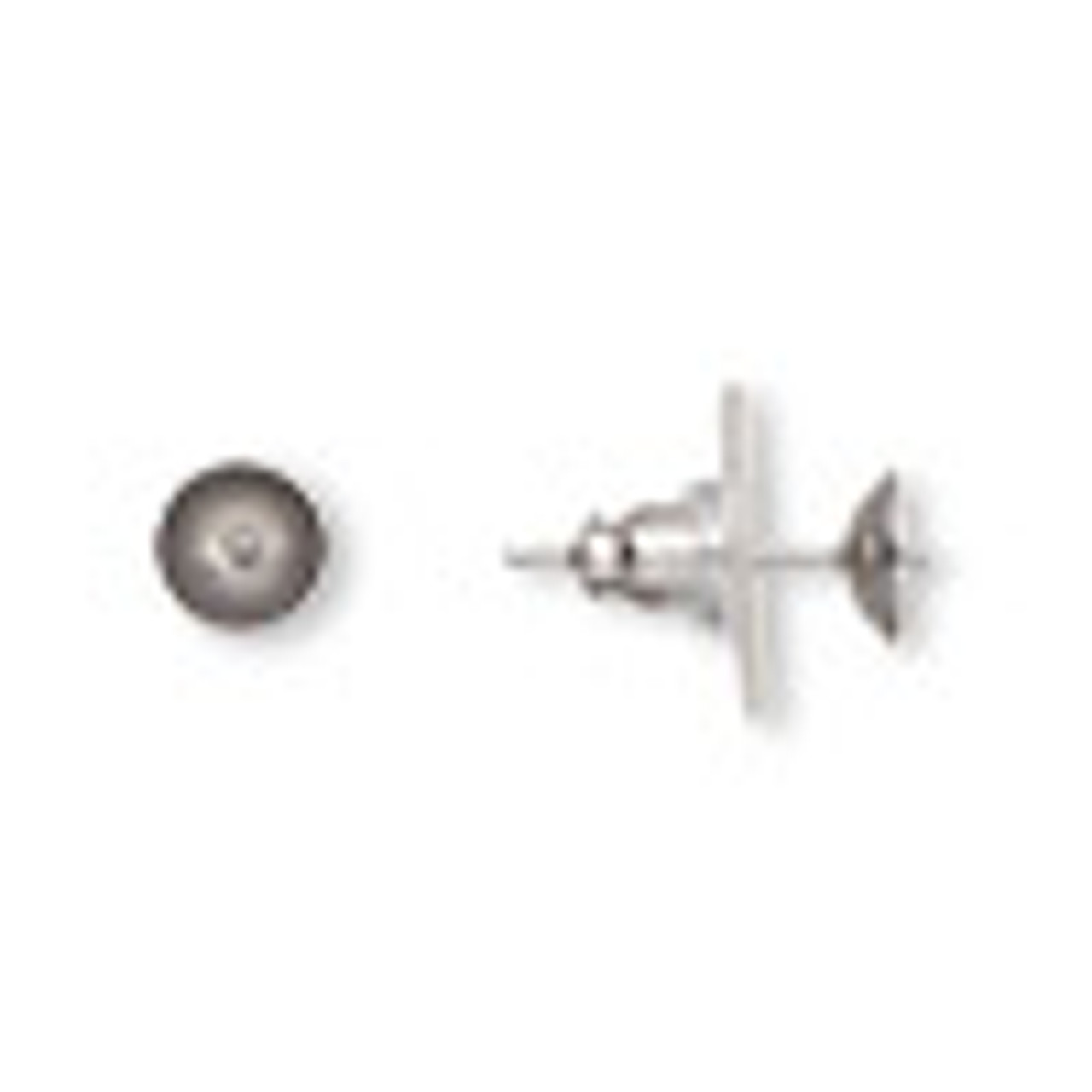 Earstud, glue-in, stainless steel / acrylic / rubber, clear, 6mm cup with 2mm peg, fits 6-8mm half-drilled bead