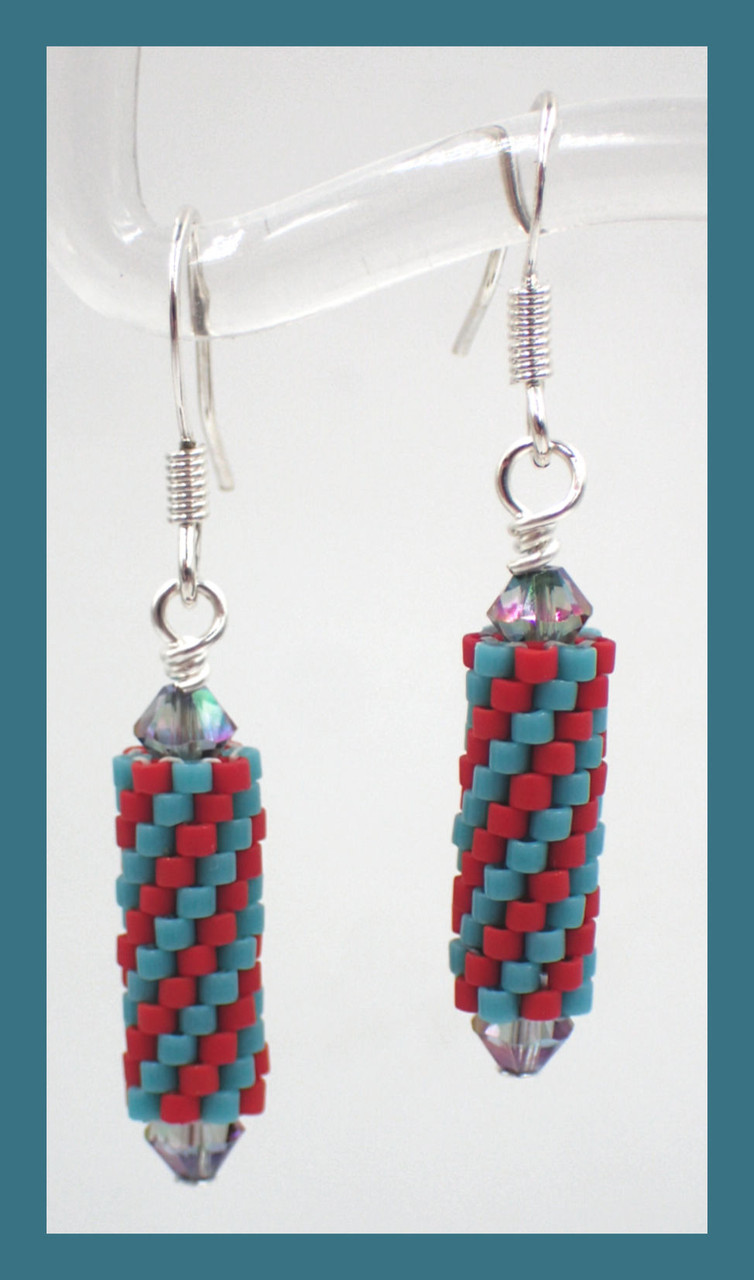 Peyote Tube Earrings INSTANT DOWNLOAD PDF Pattern