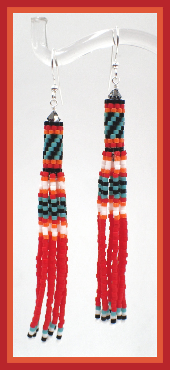 Peyote Tube Fringe Earrings INSTANT DOWNLOAD PDF Pattern