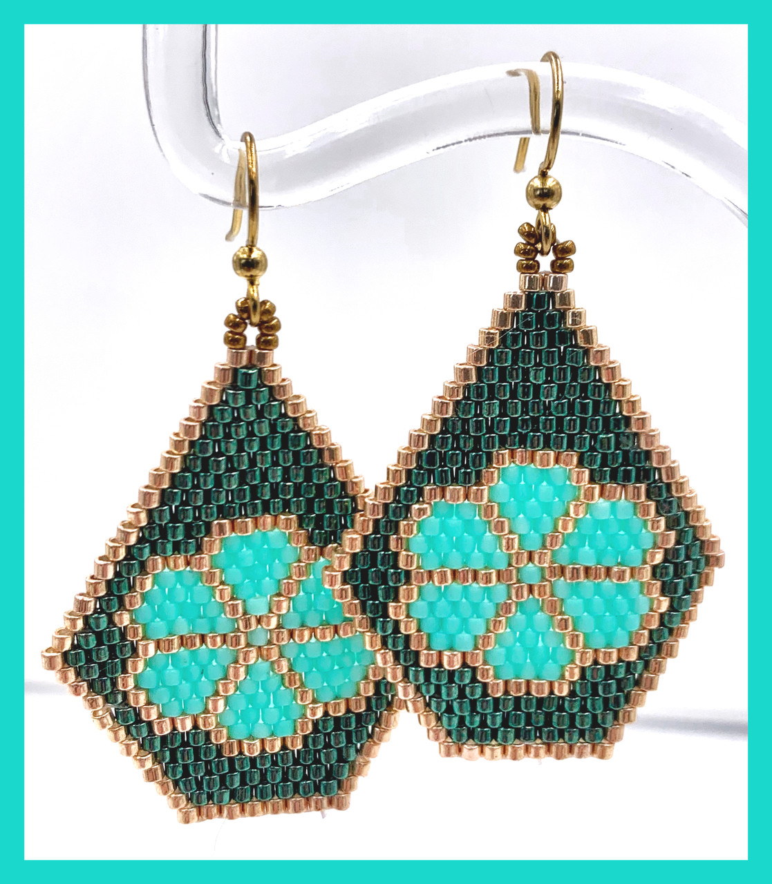 Brick Stitch Flower Earrings INSTANT DOWNLOAD PDF Pattern