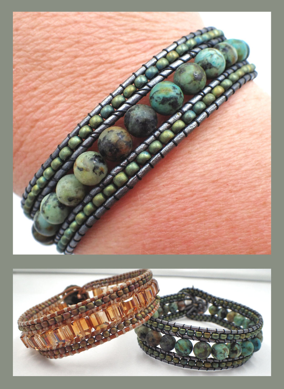 Double Wrap Leather Bracelet PRINTED Pattern - Mailed to your home