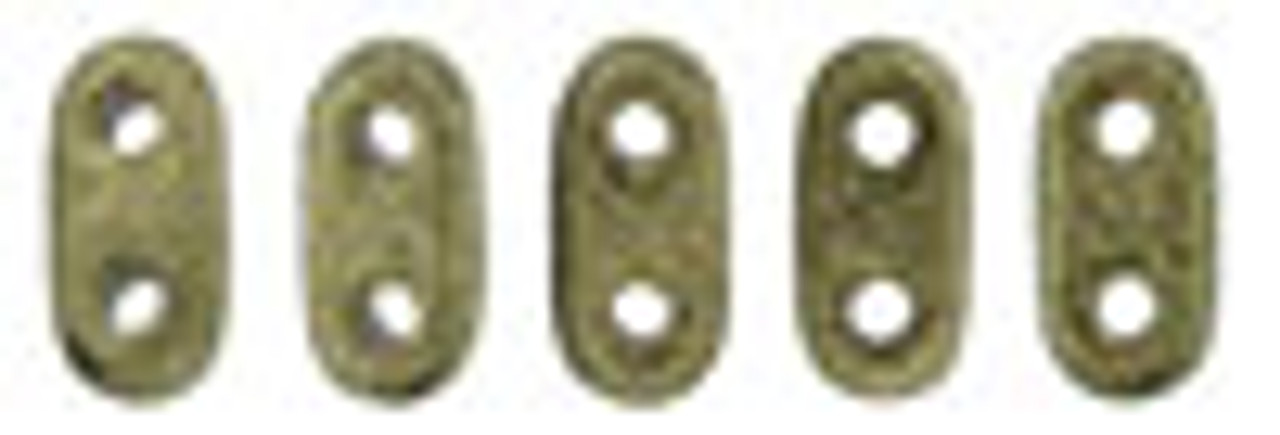 "2x6mm Metallic Suede Gold Czechmate Bar - 2.5"" Retail Tube"