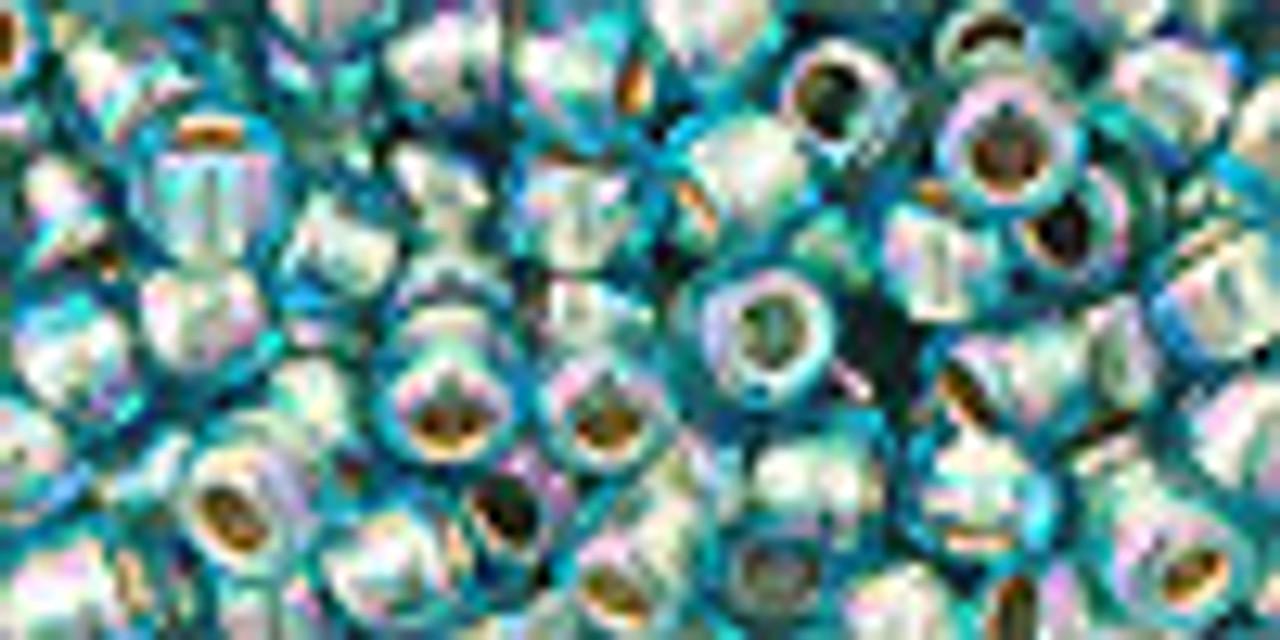 6/0 Gold Lined Rainbow Aqua Toho Seed Beads (20 Grams) 06-995