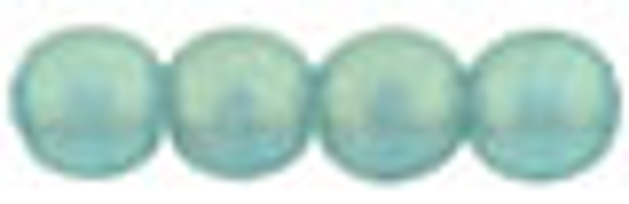 4mm Sueded Gold Light Teal Czech Glass Rounds (Approx 100 Beads)
