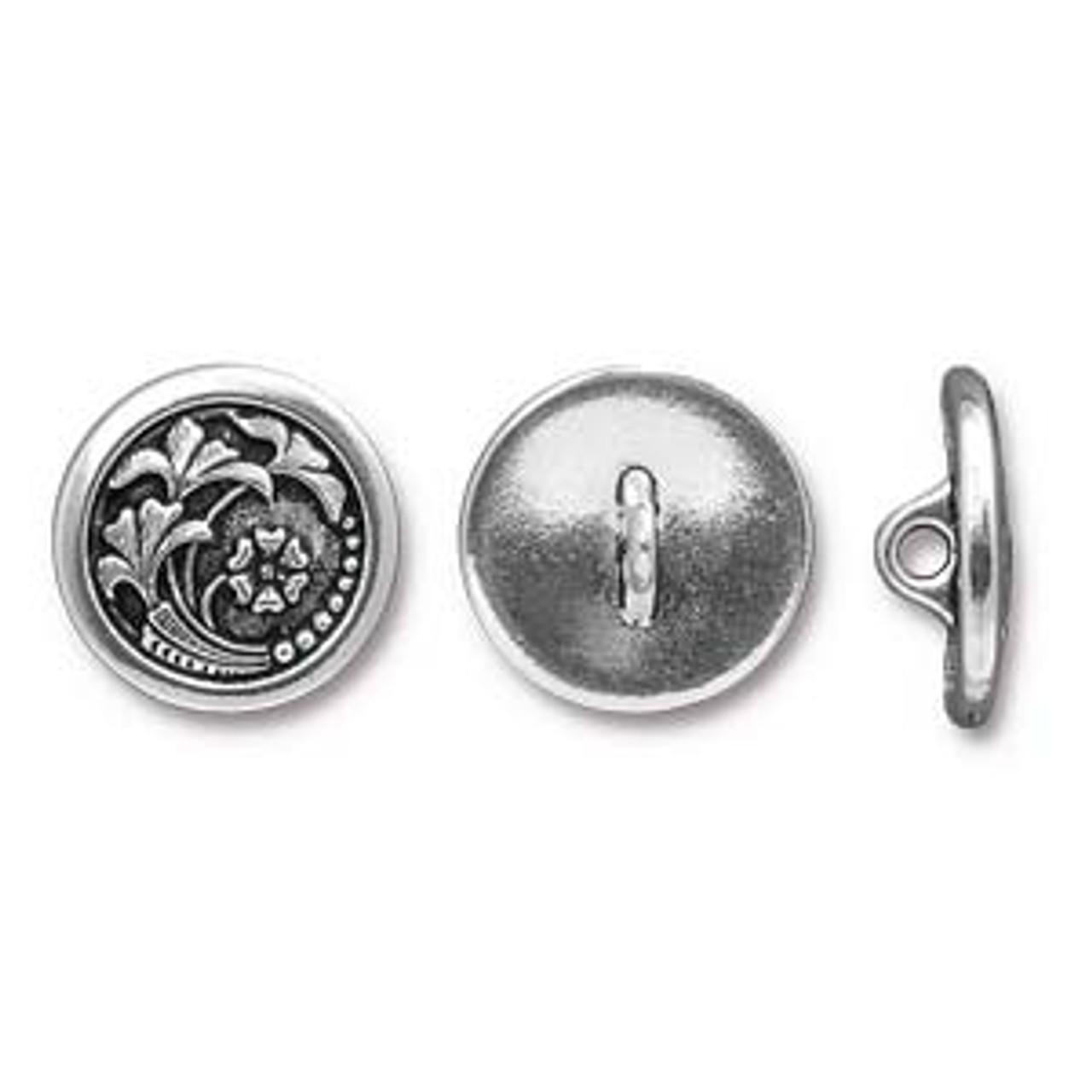17mm Czech Flower Silver Button (1 Piece)