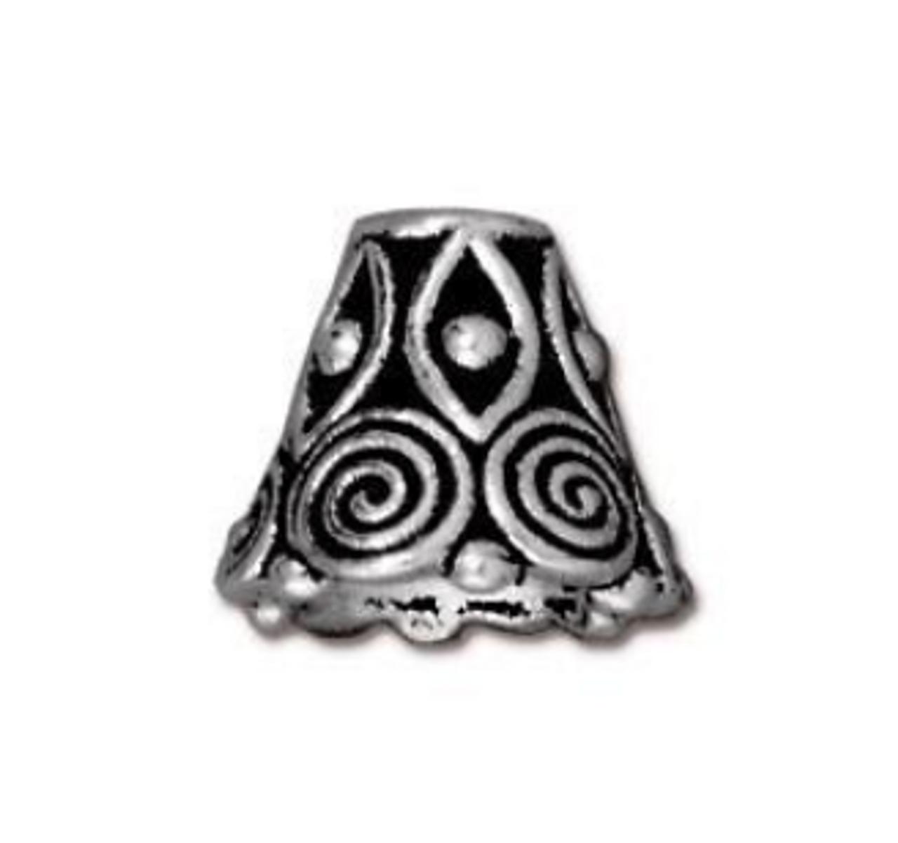 Antique Silver Spiral Bead Cone (2pk) TierraCast