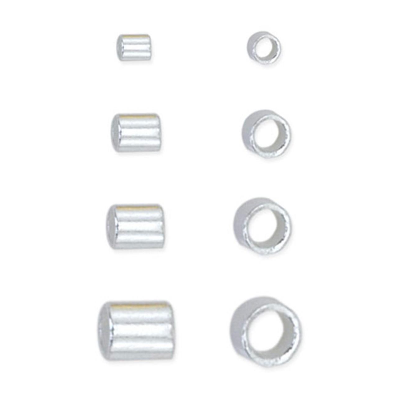 Crimp Tube Variety Pack, Size 1, 2, 3, 4, Silver Plated, 600 pc