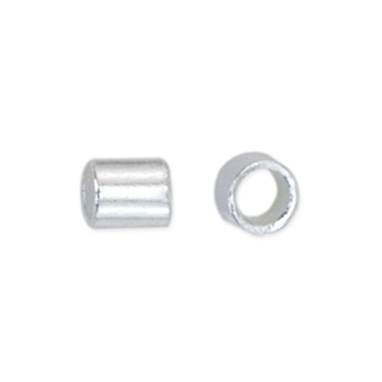 Crimp Tubes, Size #1, 0.8 mm (.031 in) I.D., 1.3 mm (.051 in) O.D., Silver Plated, 1.5 g (.05 oz), appx. 160 pc. Use Micro Crimper Tool with wire 0.25-0.33 mm (.010 -.013 in)
