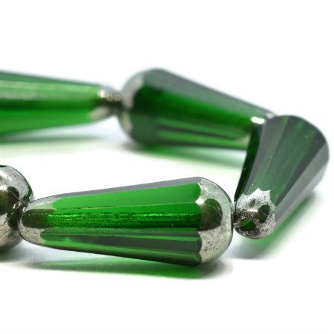 20x9mm Faceted Dangle Green with Silver Finish - SOLD PER BEAD