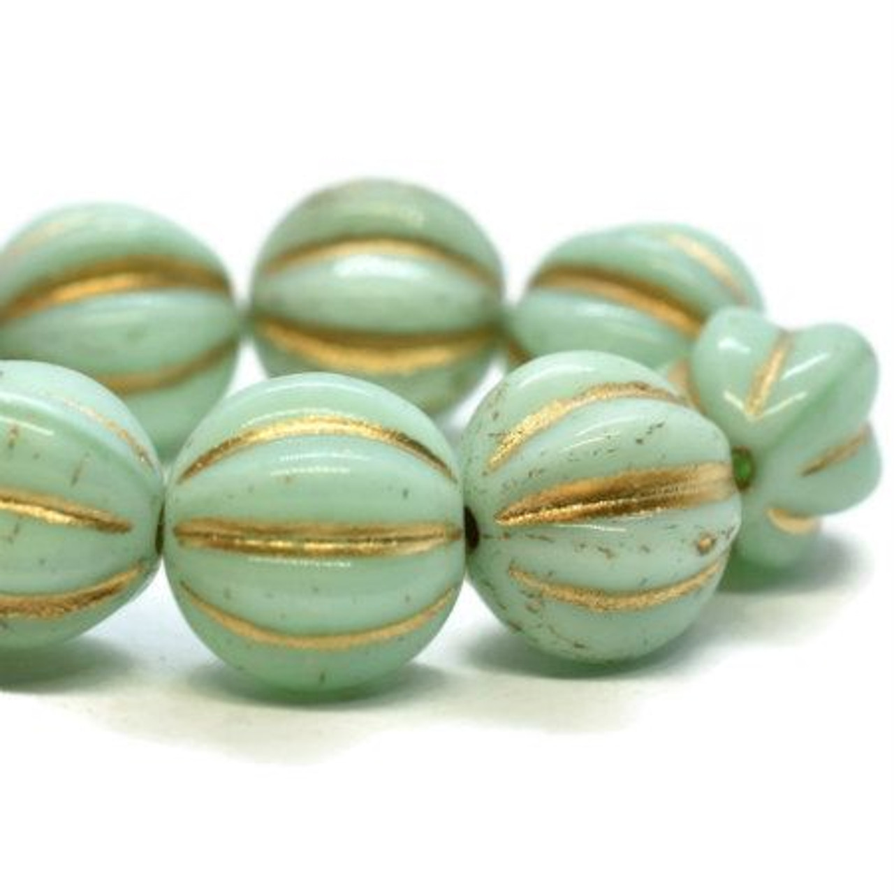 10mm Mint Melon with Gold Wash Melon Beads (15 Beads)