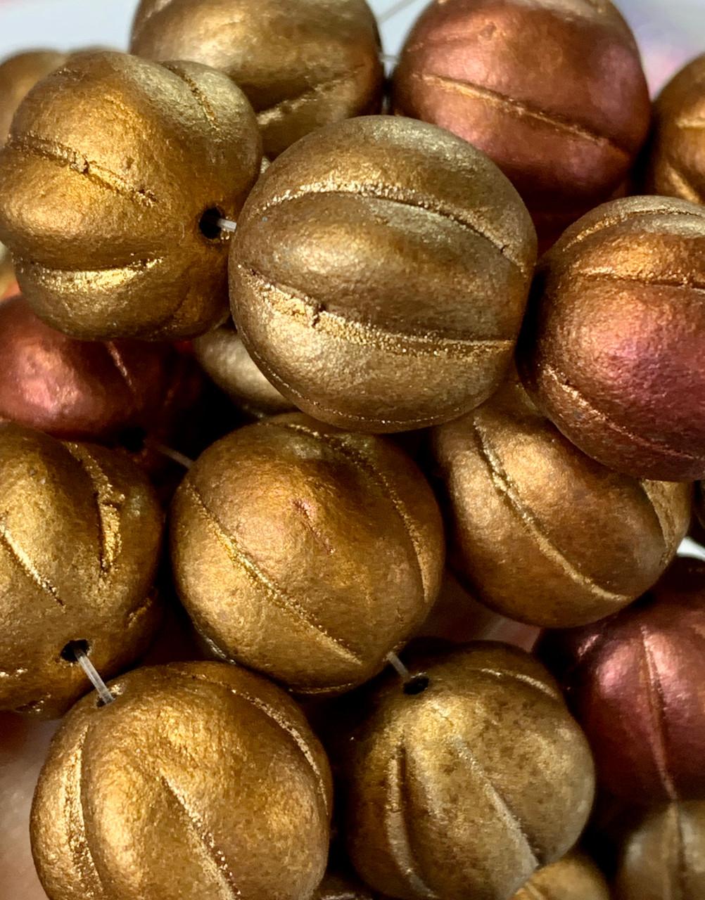 14mm Metallic Mix Melon Beads - SOLD PER BEAD