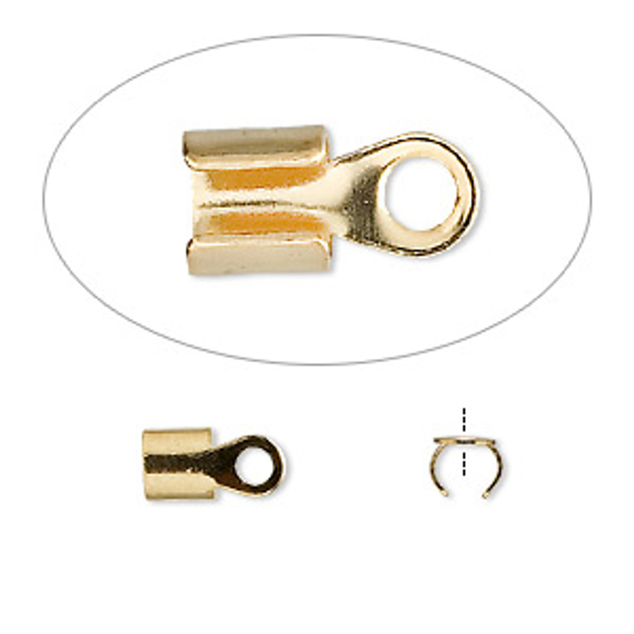 5x5mm with 4mm ID Gold Plated Fold Over Crimp End (12pk)