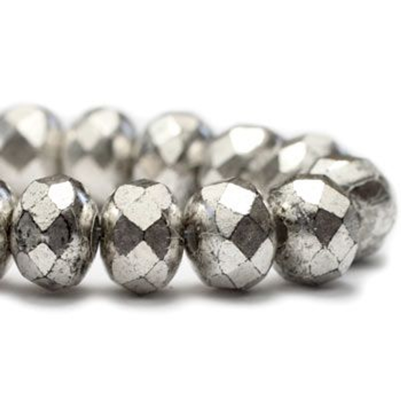 3x5mm Antique Silver Roundel - 30 Bead Strand