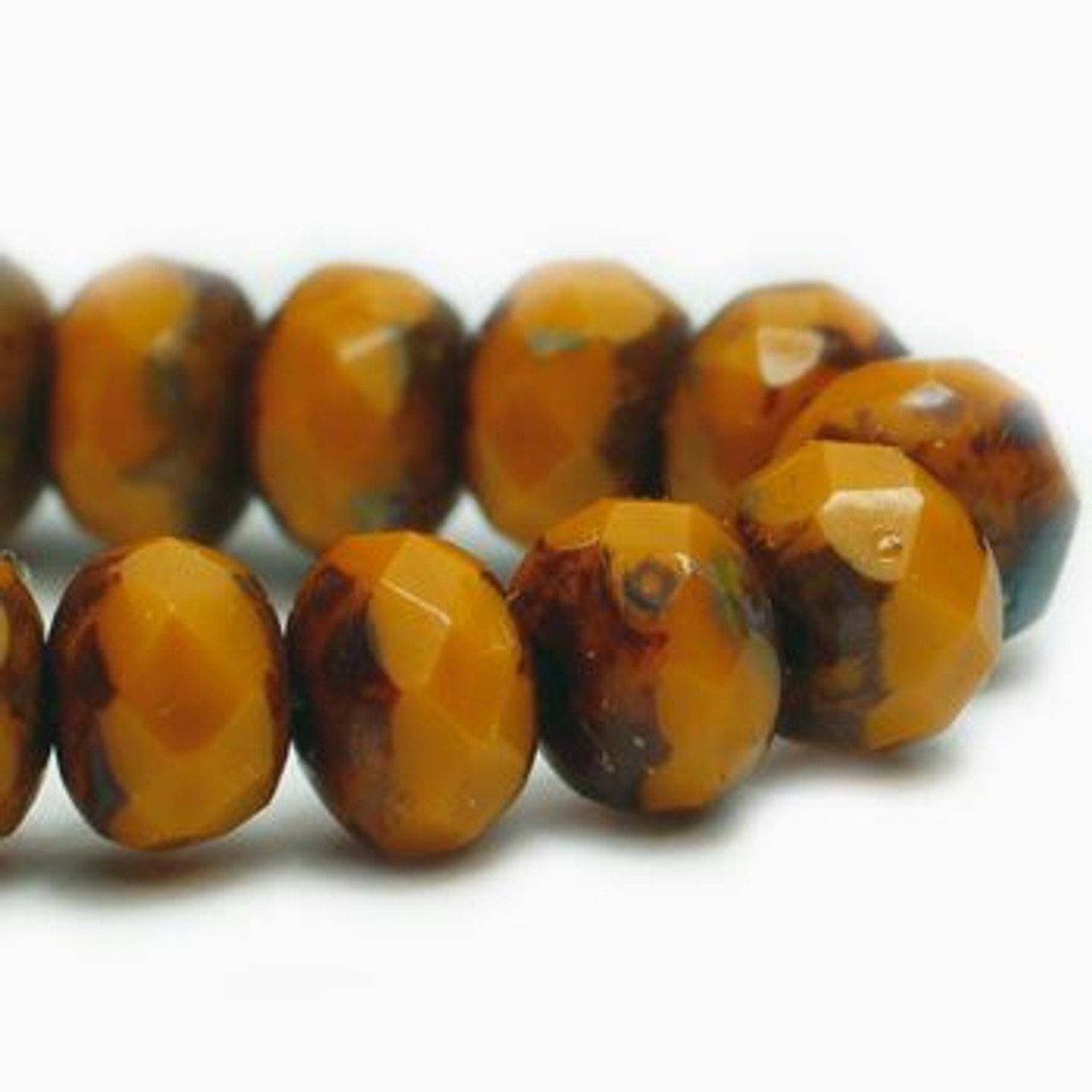 3x5mm Pumpkin with Picasso Roundel - 30 Bead Strand