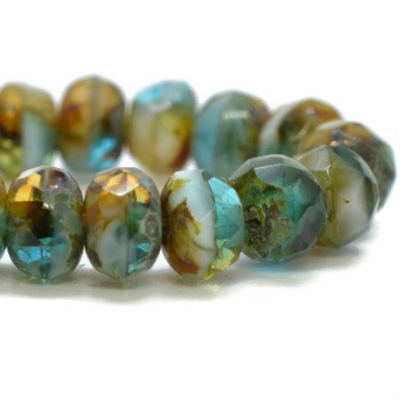 3x5mm Pacific Blue and Amber with Picasso Roundel - 30 Bead Strand
