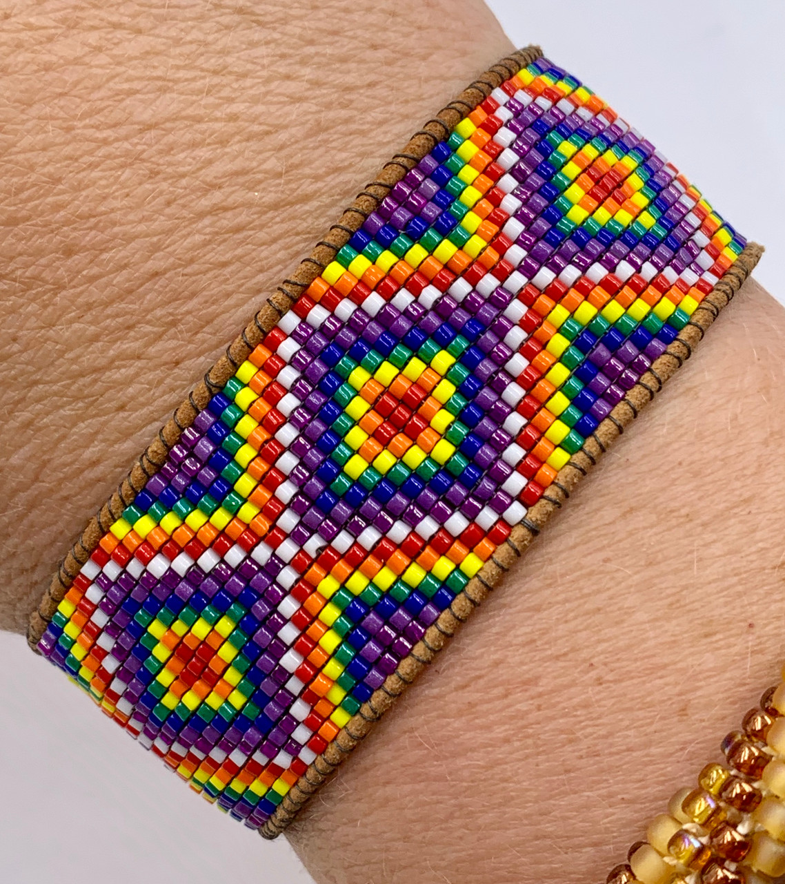 Rainbow Diamonds Loom Bracelet PRINTED Pattern & Video Access