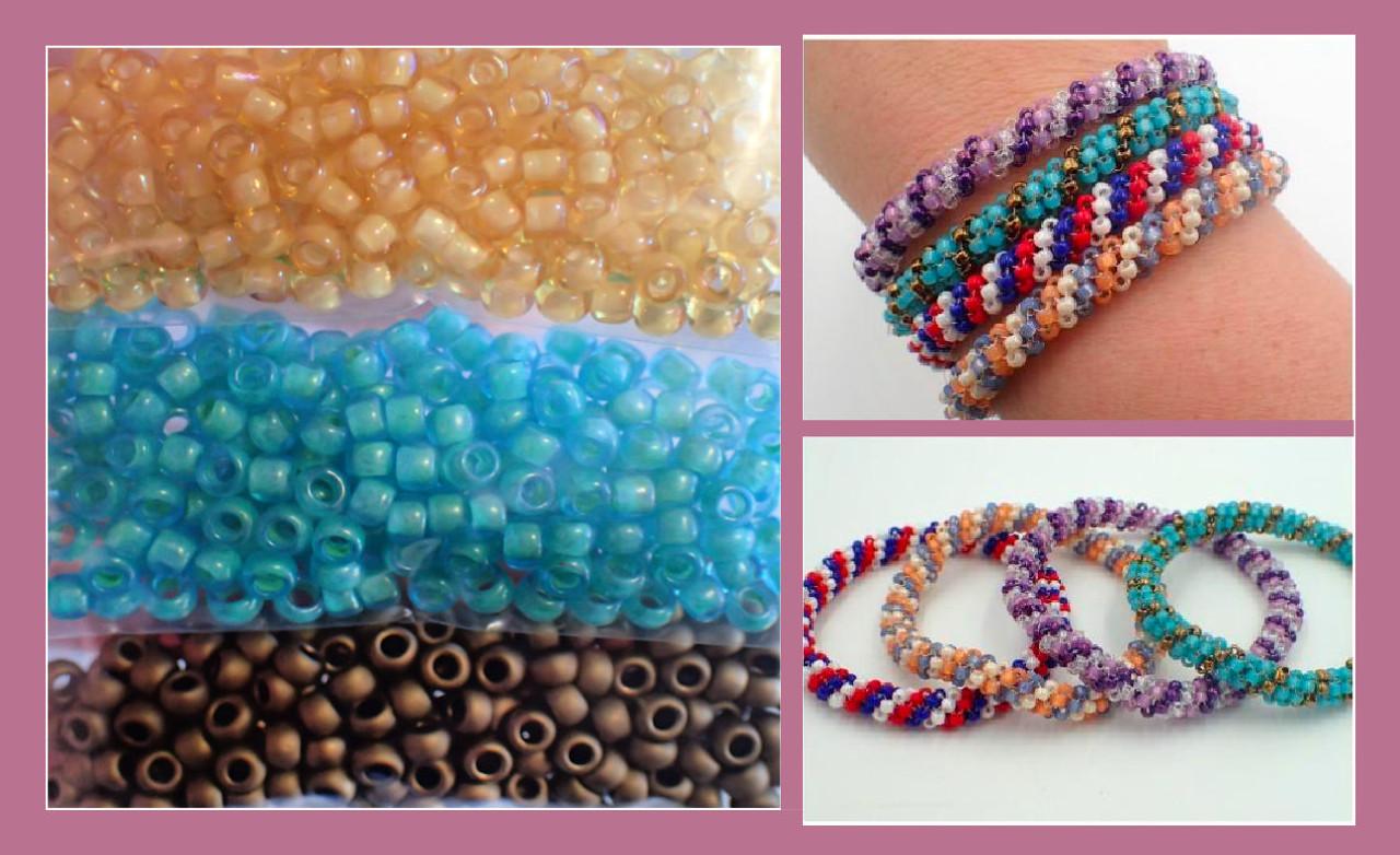 Tubular Peyote Bangle Kit - Aqua & Brown Color Combo