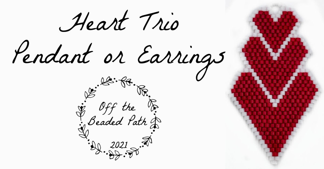 Heart Trio Pendant or Earrings INSTANT DOWNLOAD Word Chart & Graph