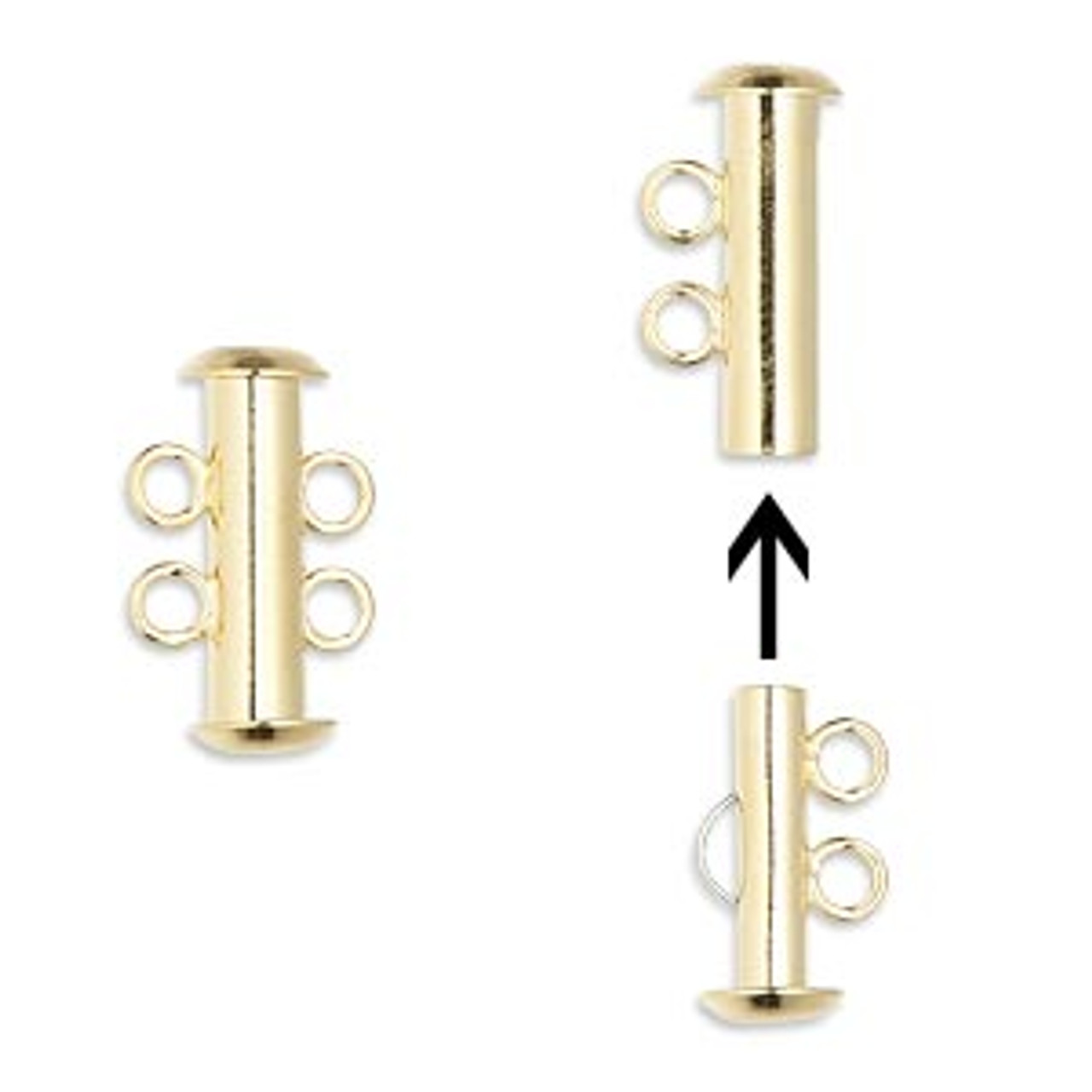 2 Strand Gold Plated Slide Clasp