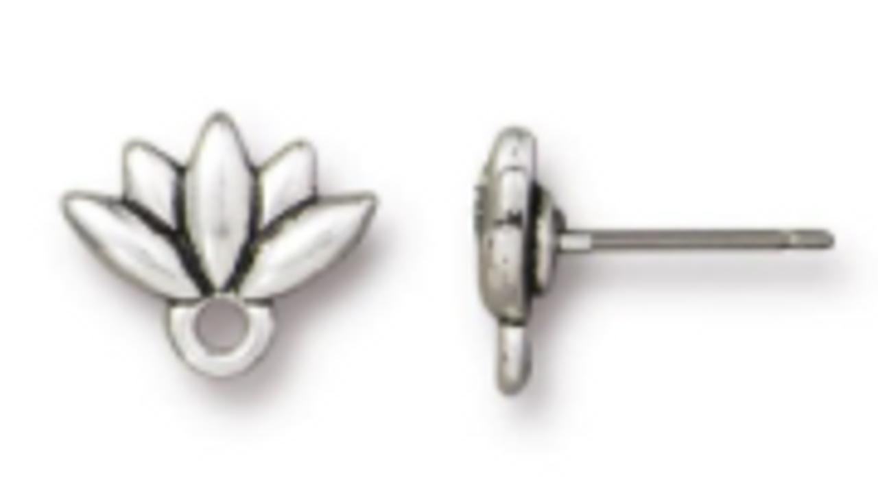 Lotus Earring Post Pewter Silver (1 Pair)