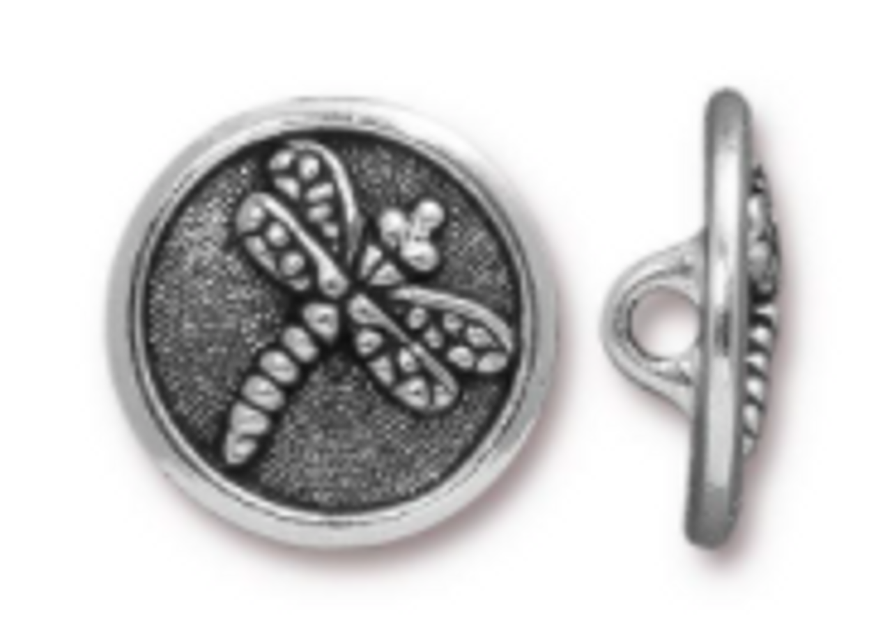 Dragonfly Button Pewter (1 Button)