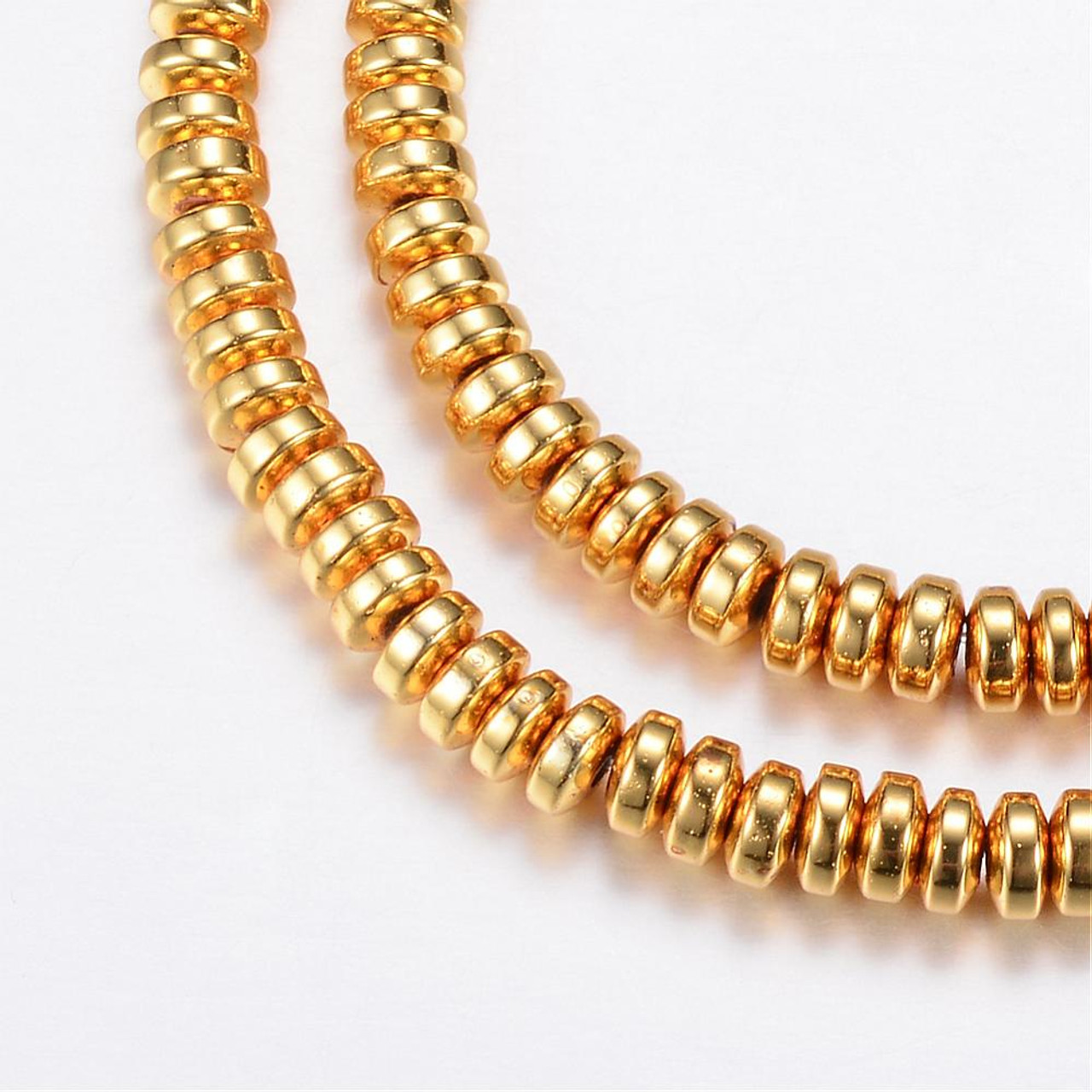 Electroplate Non-magnetic Synthetic Hematite Bead Strands, Rondelle, Golden Plated, 4x2mm, Hole: 1mm; about 180pcs/strand, 15.7 inches