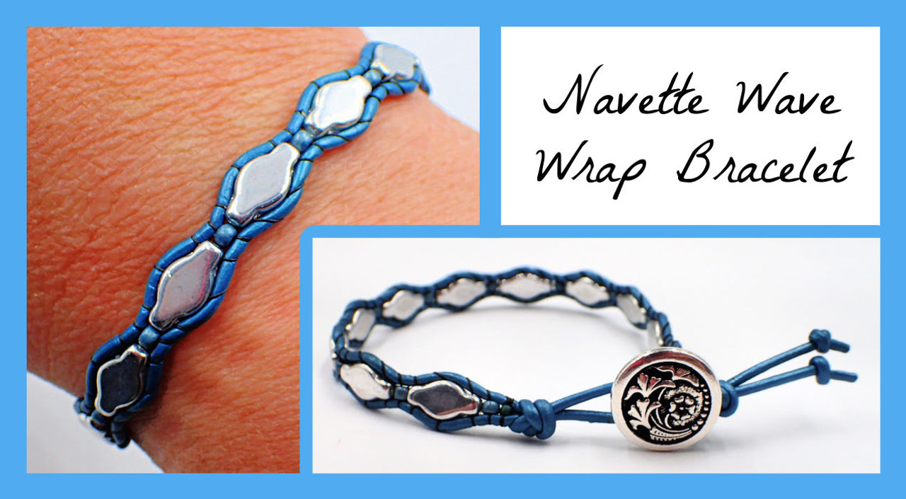 Navette Wave Wrap Bracelet PRINTED Pattern (Mailed to your home)