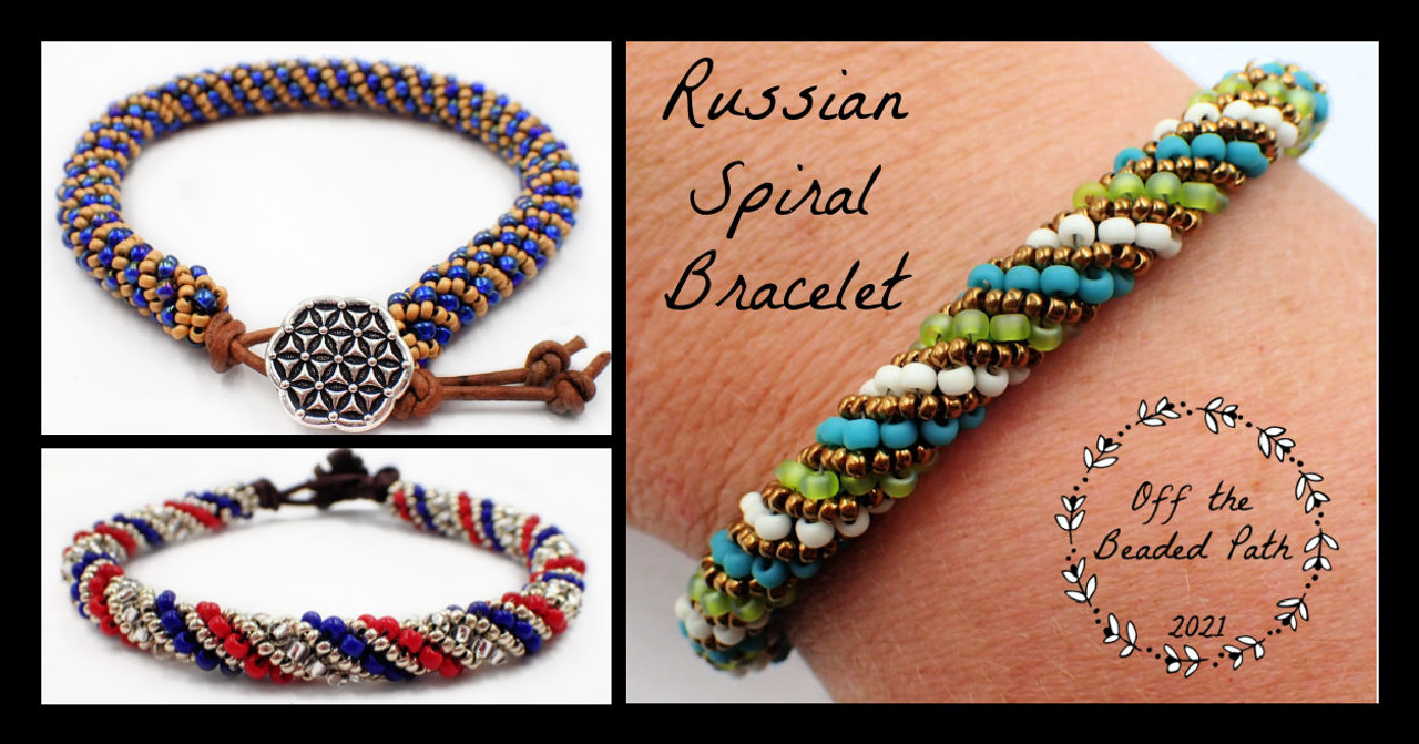 Blue & Gold Russian Spiral Bracelet Kit