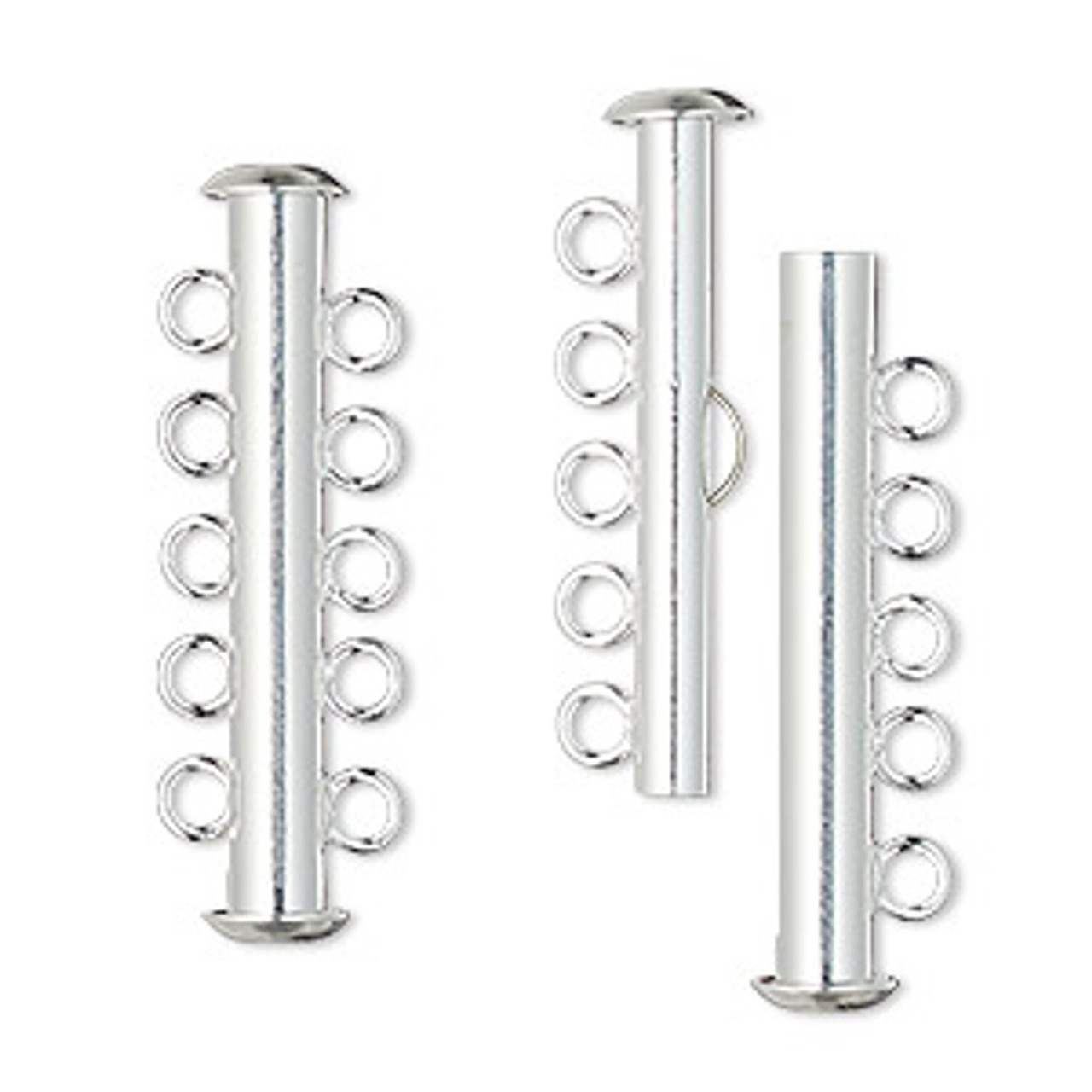 5 Strand Silver Plated Slide Clasp