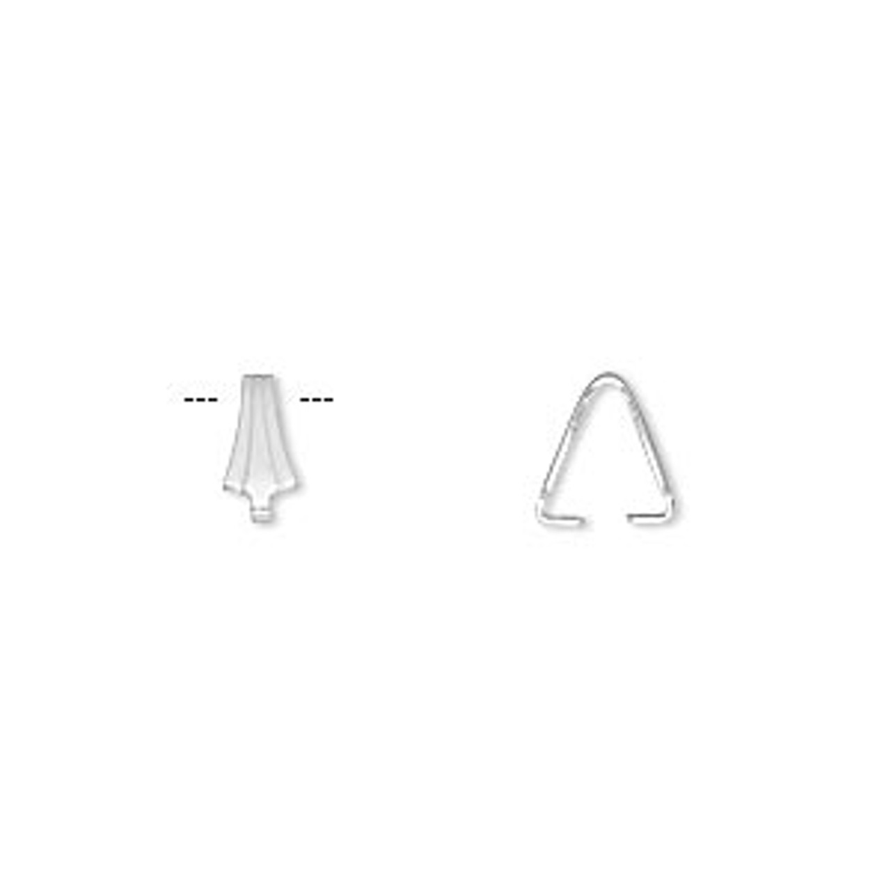 8x3.5mm Silver Plated Pinch Bail (12 Pack)
