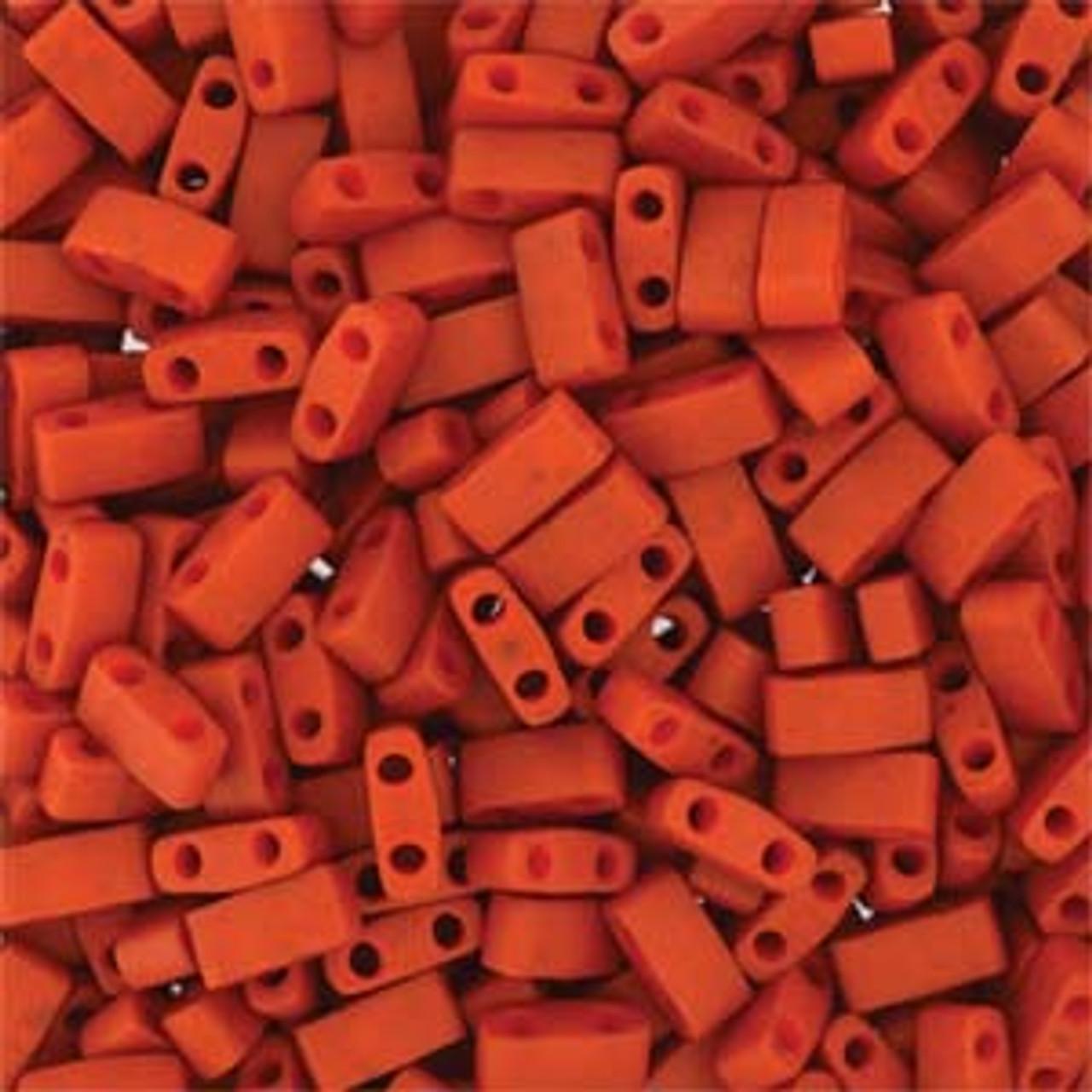 Burnt Sienna Half Tila Beads (2 Hole)