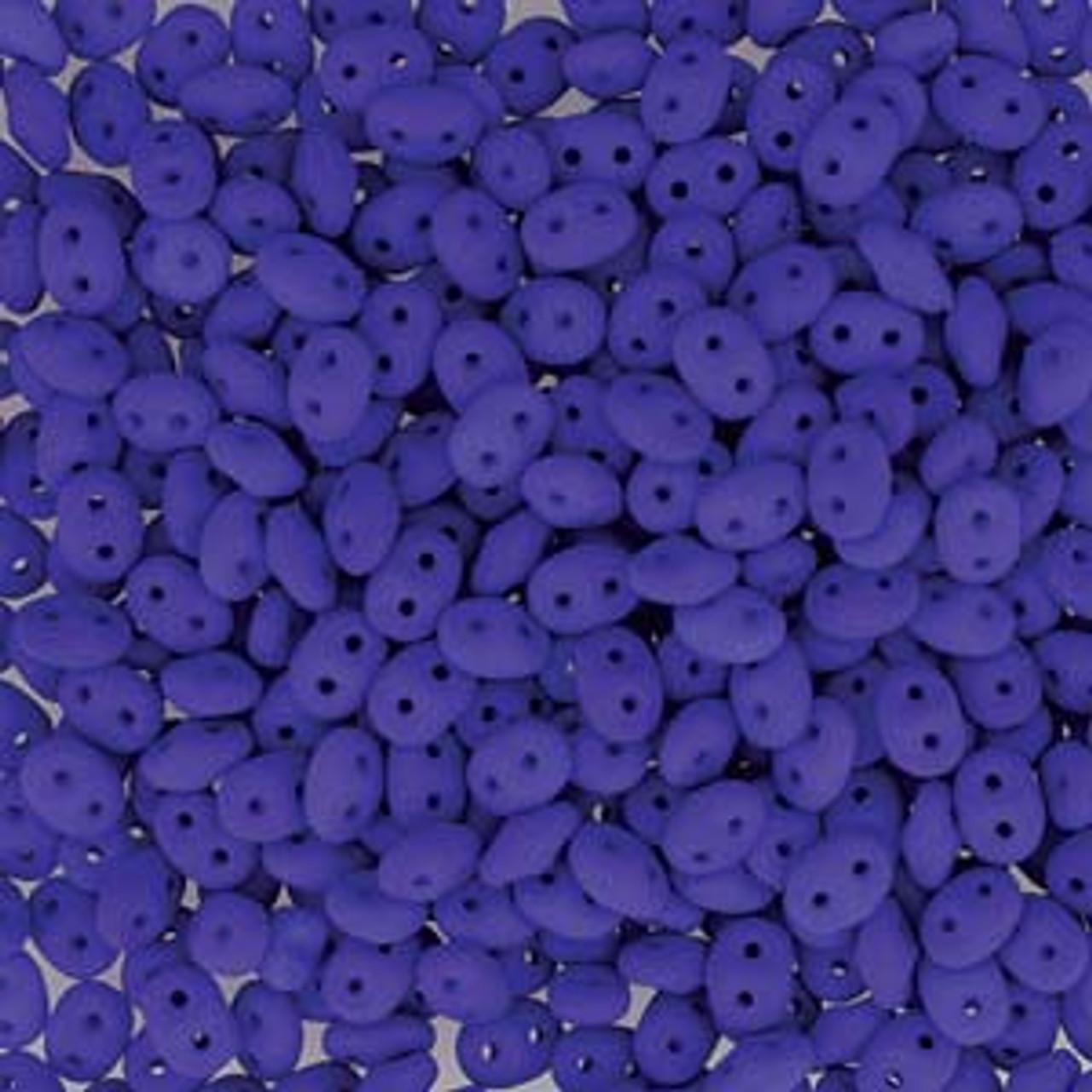 Neon Blue Super Duo Beads - 8 Grams