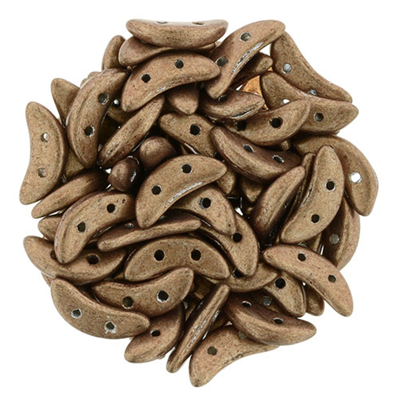 3x10mm Saturated Metallic Tan 2-Hole Crescent Beads