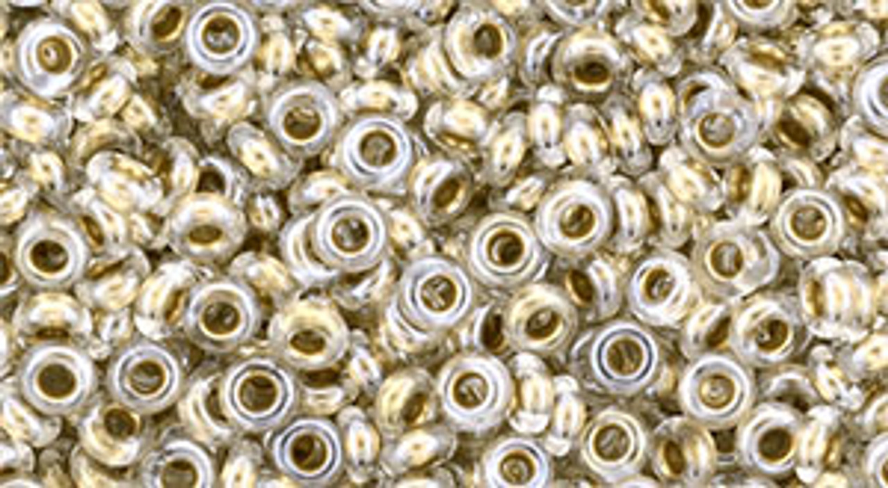 8/0 Gold Lined Crystal Demi Rounds (8 Grams) 08-989