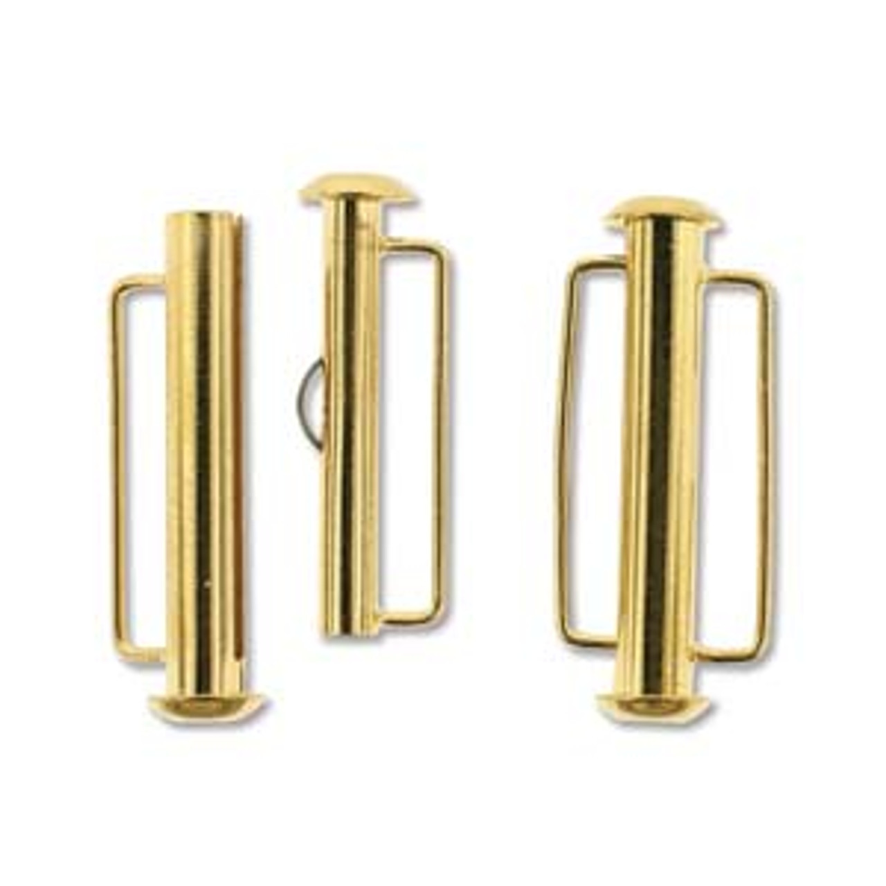 26.5mm Gold Plated Slide Bar Clasp  (1 Piece)