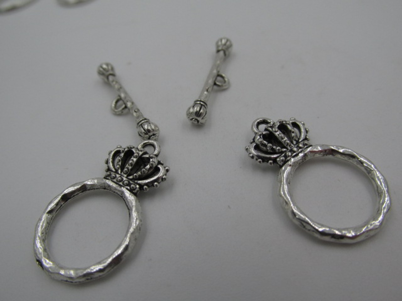 15x4.5mm Crown Silver Plated Toggle (2 Sets)