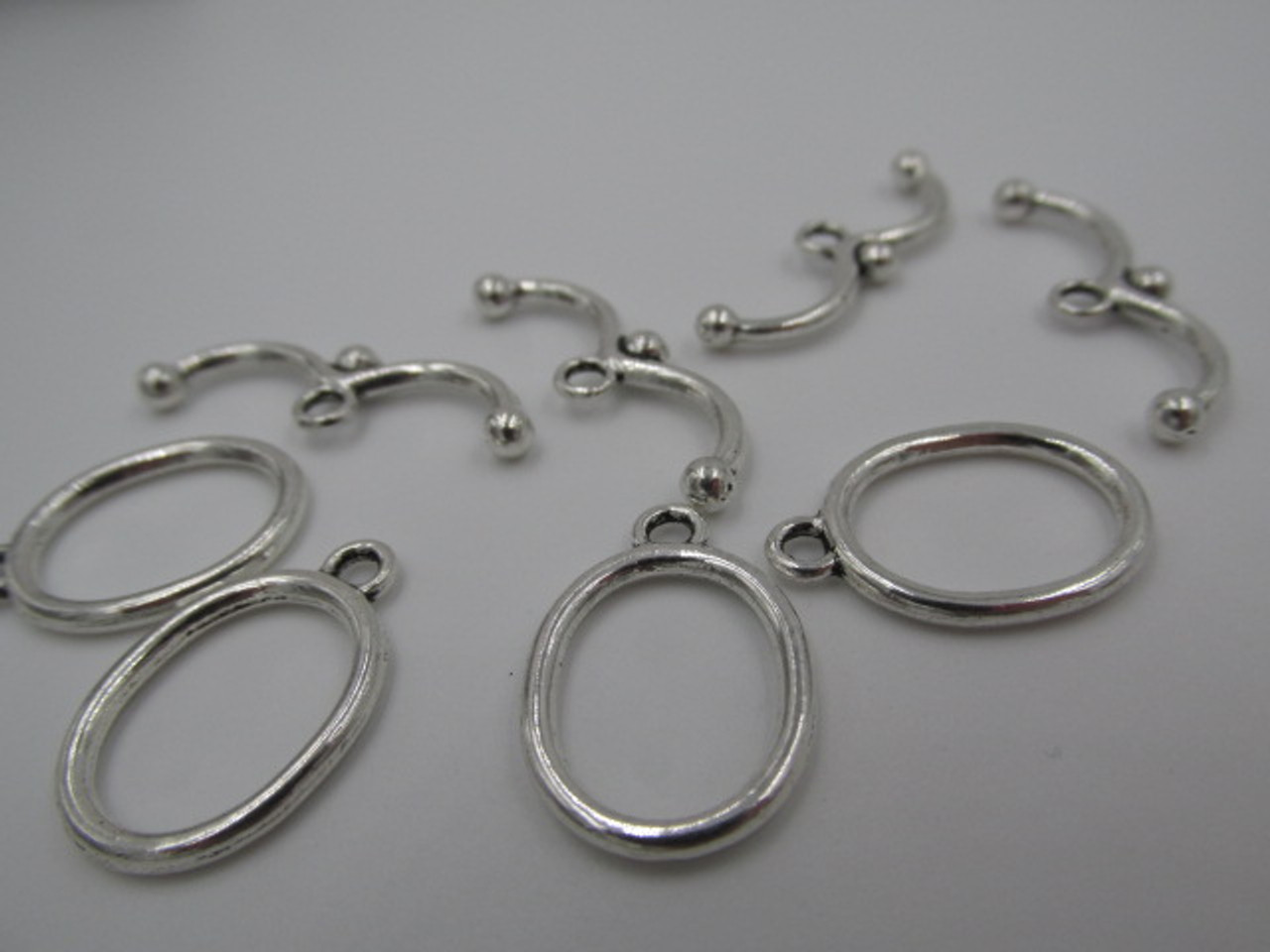 20x13mm Oval Silver Plated Toggle (4 Sets)