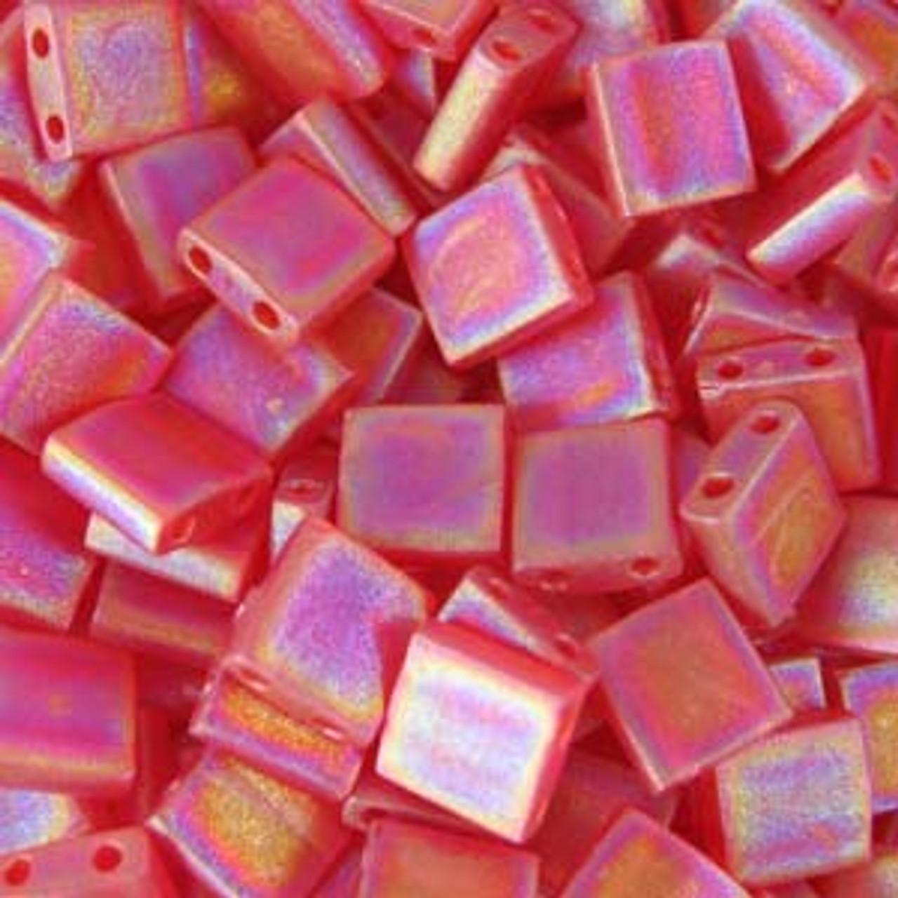Matte Transparent Red Orange AB 5mm Tila Beads (TL140FR)