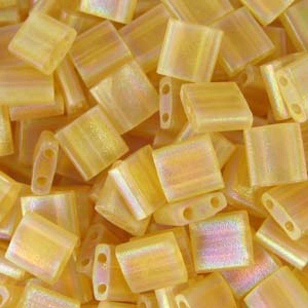 Matte Transparent Lt. Topaz AB 5mm Tila Beads (TL132FR)