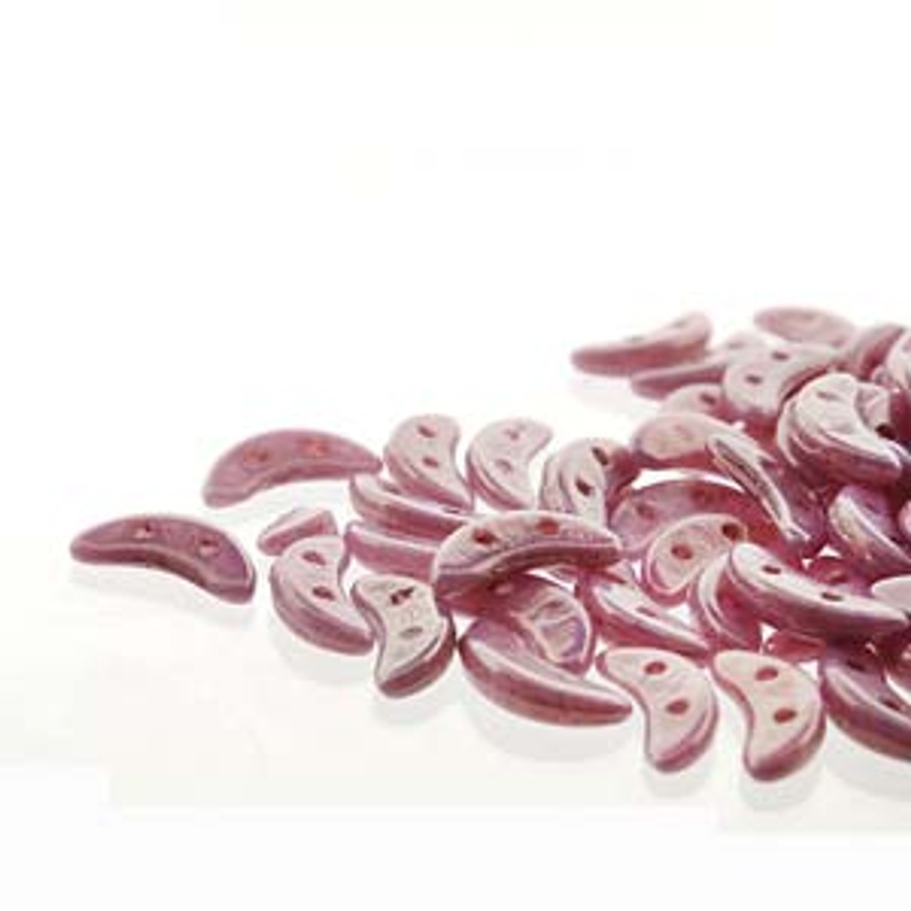 3x10mm Opaque Luster Lilac Crescent Beads