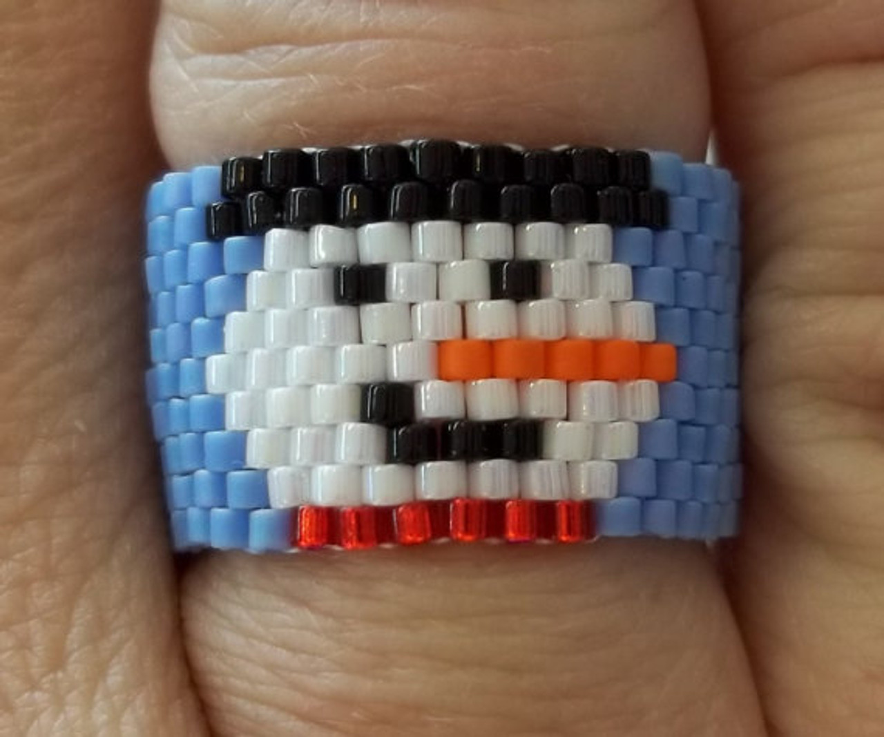 Peyote Stitch Smiling Snowman Ring PRINTED Pattern