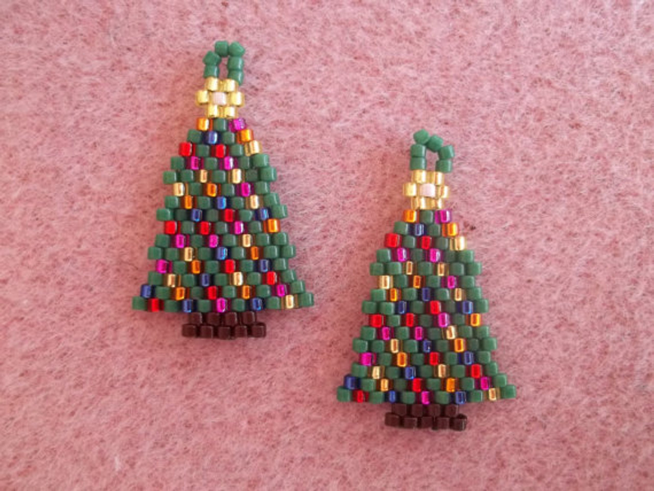 Christmas Tree With Lights.Christmas Tree With Lights Brick Stitch Earrings Graph Tutorial