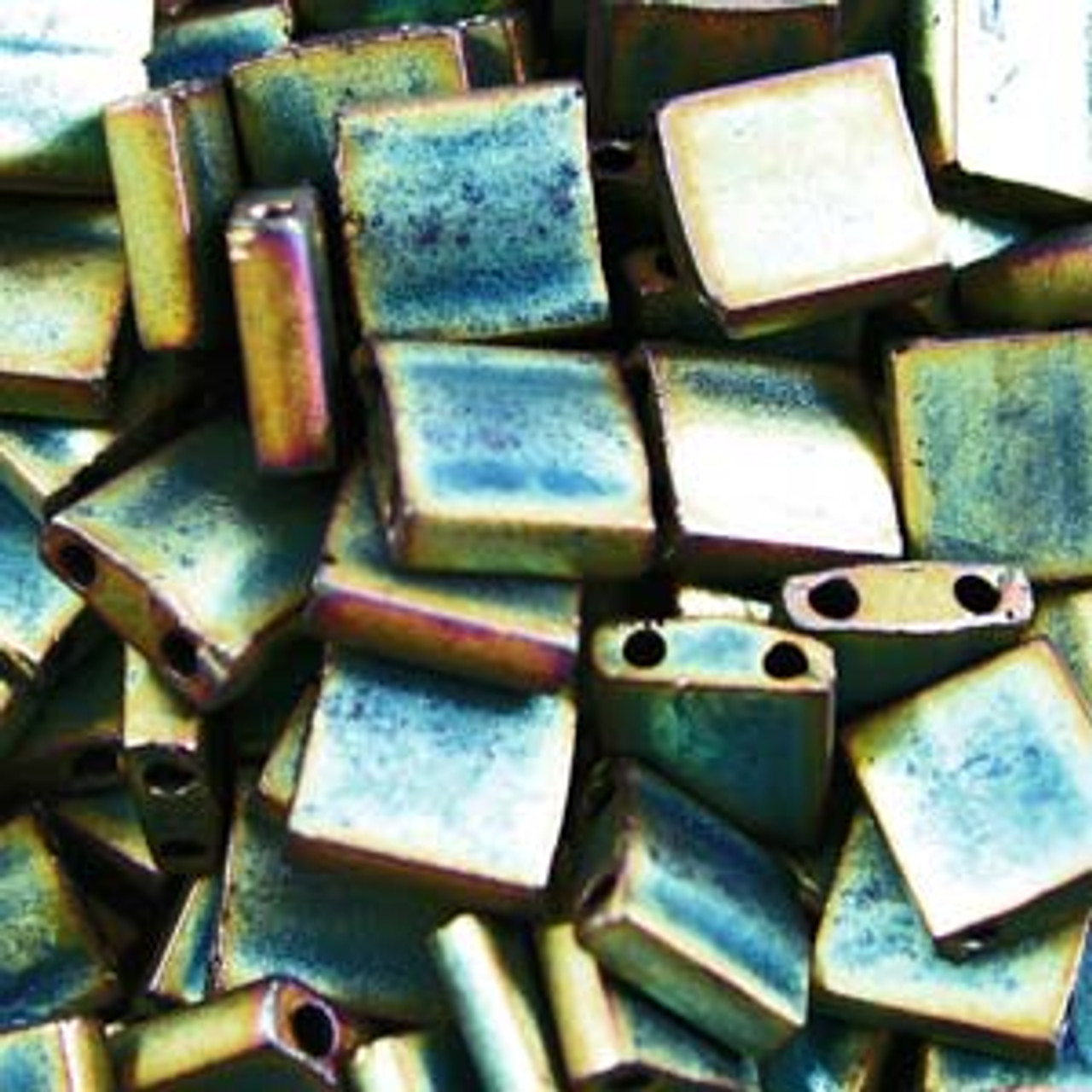 Matte Metallic Green Iris 5mm Tila Beads (TL2008)