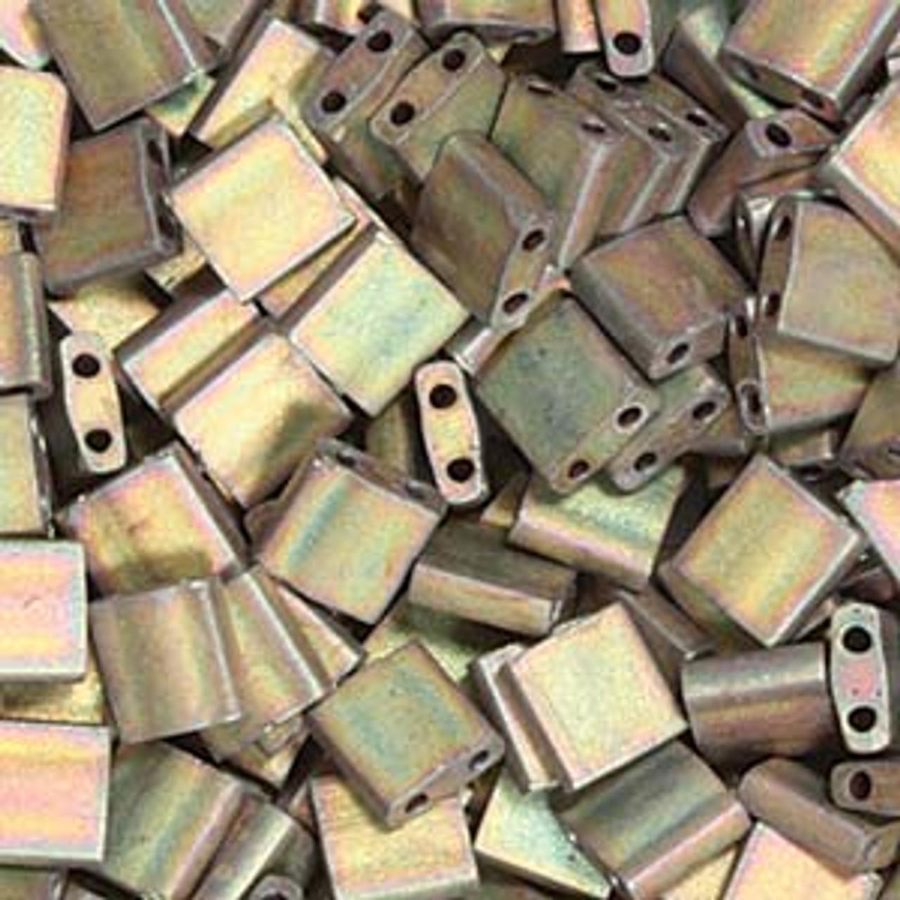 Matte Metallic Khaki Iris 5mm Tila Beads (TL2035) 8 grams