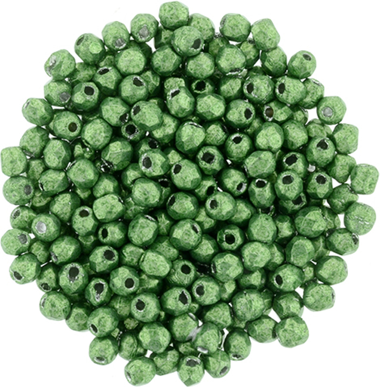 2mm Saturated Metallic Kale Fire Polish Beads - 50pk
