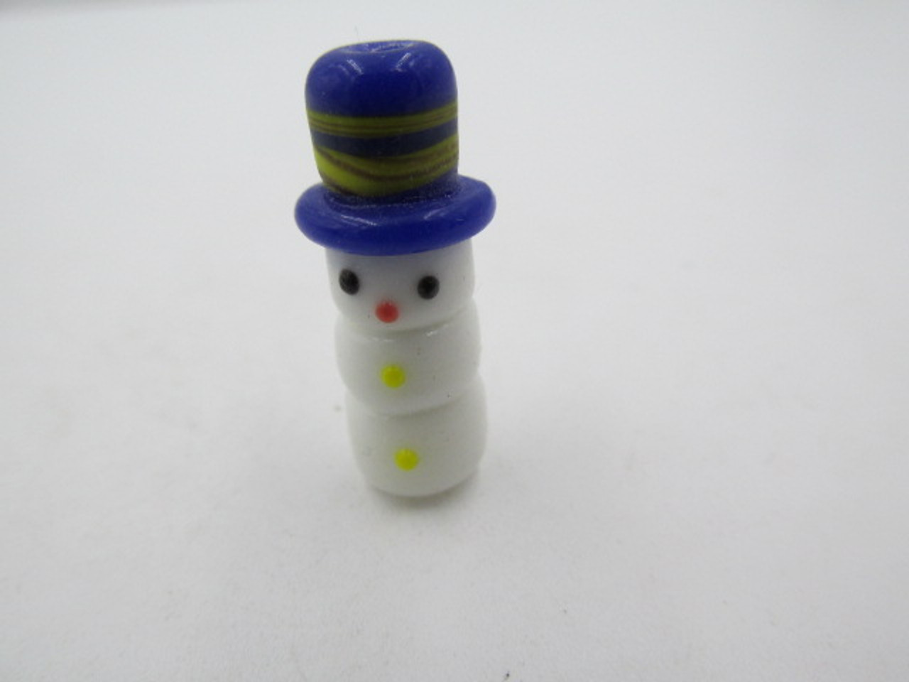 25x7mm Glass Snowman with Blue Hat