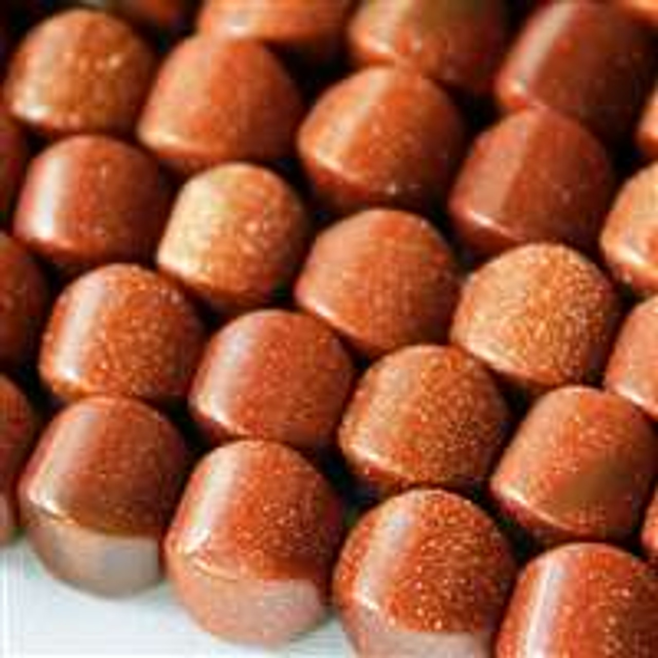 10mm Goldstone Cushion - 8 inch strand