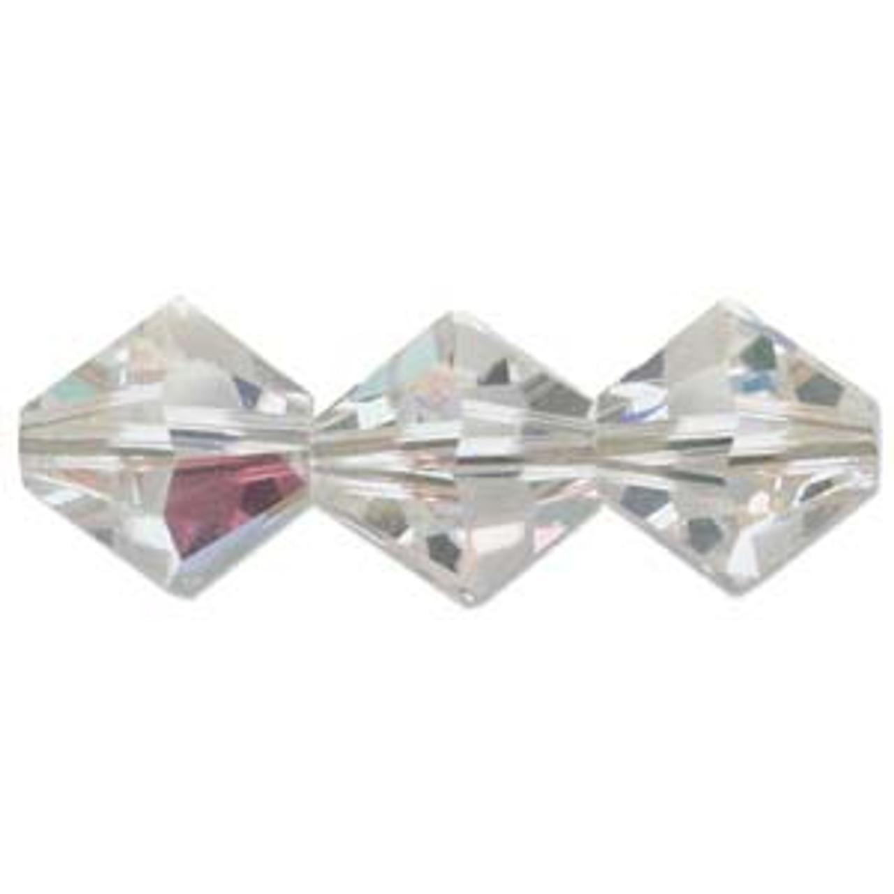 12pk 4mm Crystal AB Swarovski Bicones